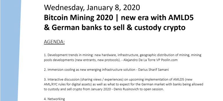 Bitcoin Mining 2020 | new era with AMLD5 & German banks to sell & custody crypto